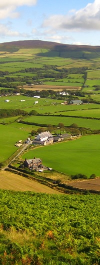 Self Catering Isle of Man - View from Peel Hill over Knockaloe Beg Farm