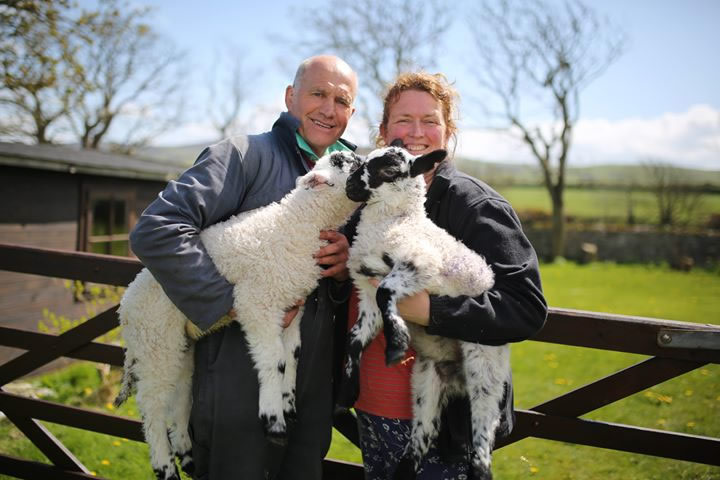 John and Fiona with lambs